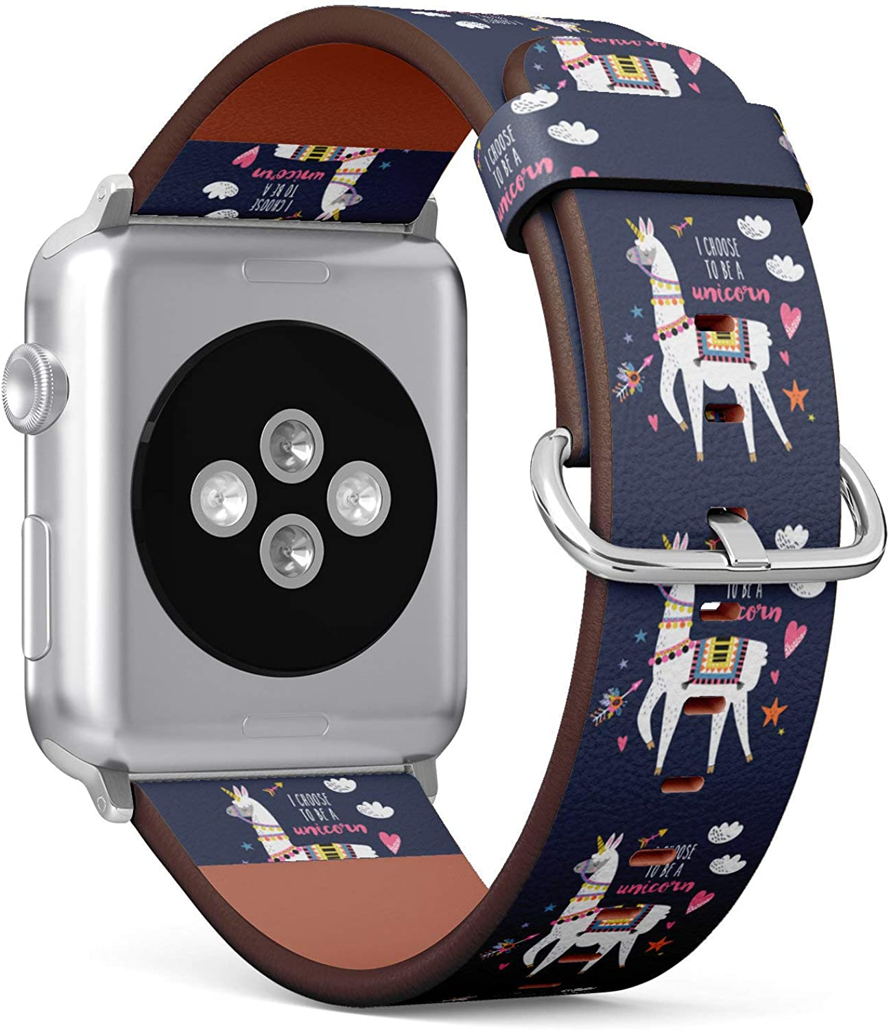 (Tribal Alpaca Llama) Patterned Leather Wristband Strap for Apple Watch Series 4/3/2/1 gen,Replacement for iWatch 38mm / 40mm Bands