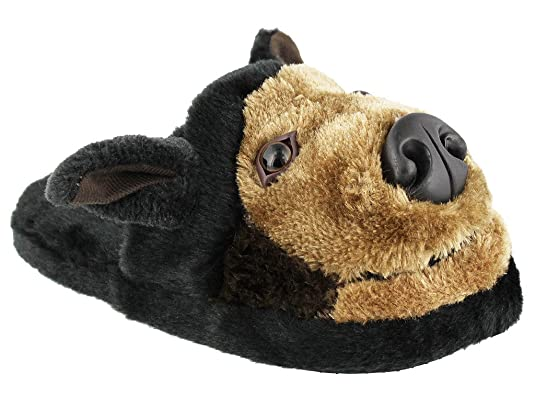 Whimiscal Ladies Animal Character Slip On Fuzzy Plush Slippers, BLACK DOG, Size M(6/7)