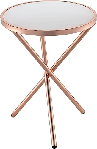 ACME Furniture 81816 Lajita Side Table, One Size, Frosted Glass and Copper