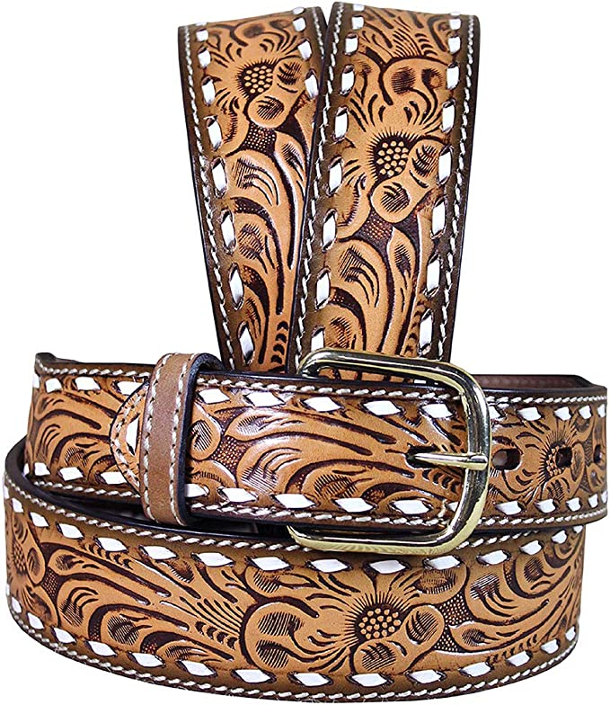3D Belt Mens Western Lacing Floral Buckstitch Natural Brown 7323