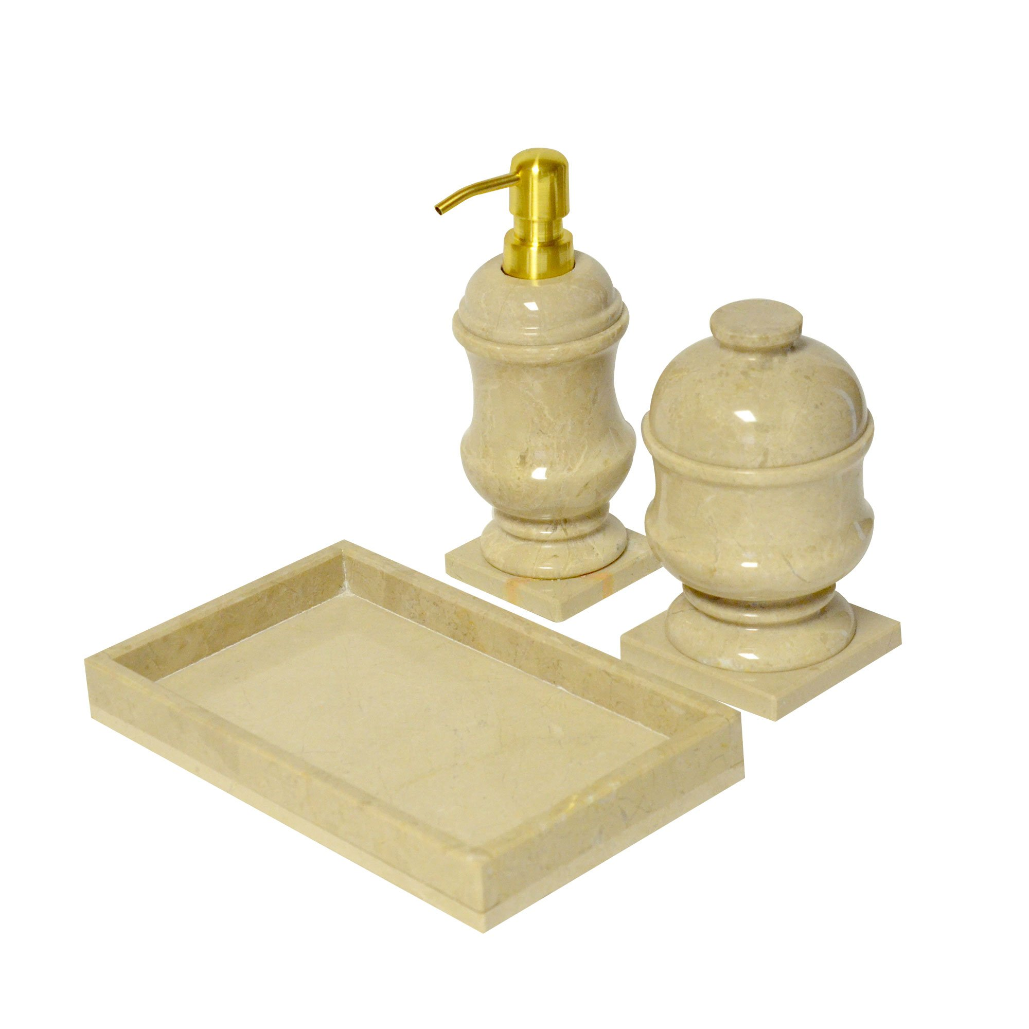 3 PCS Polished Marble Bath Set Soap Caddy Shampoo Dispenser Shower ...