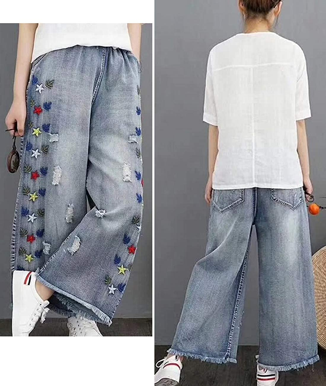 YESNO PW2 Women Casual Cropped Pants Loose Floral Jeans Ripped Embroidered Wide Leg