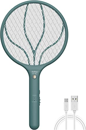 Endbug Rechargeable Fly Swatter Racket Handheld Bug Zapper with LED Light, USB Charging Electric Mosquito, Fly Insect Killer Indoor Outdoor (Green)