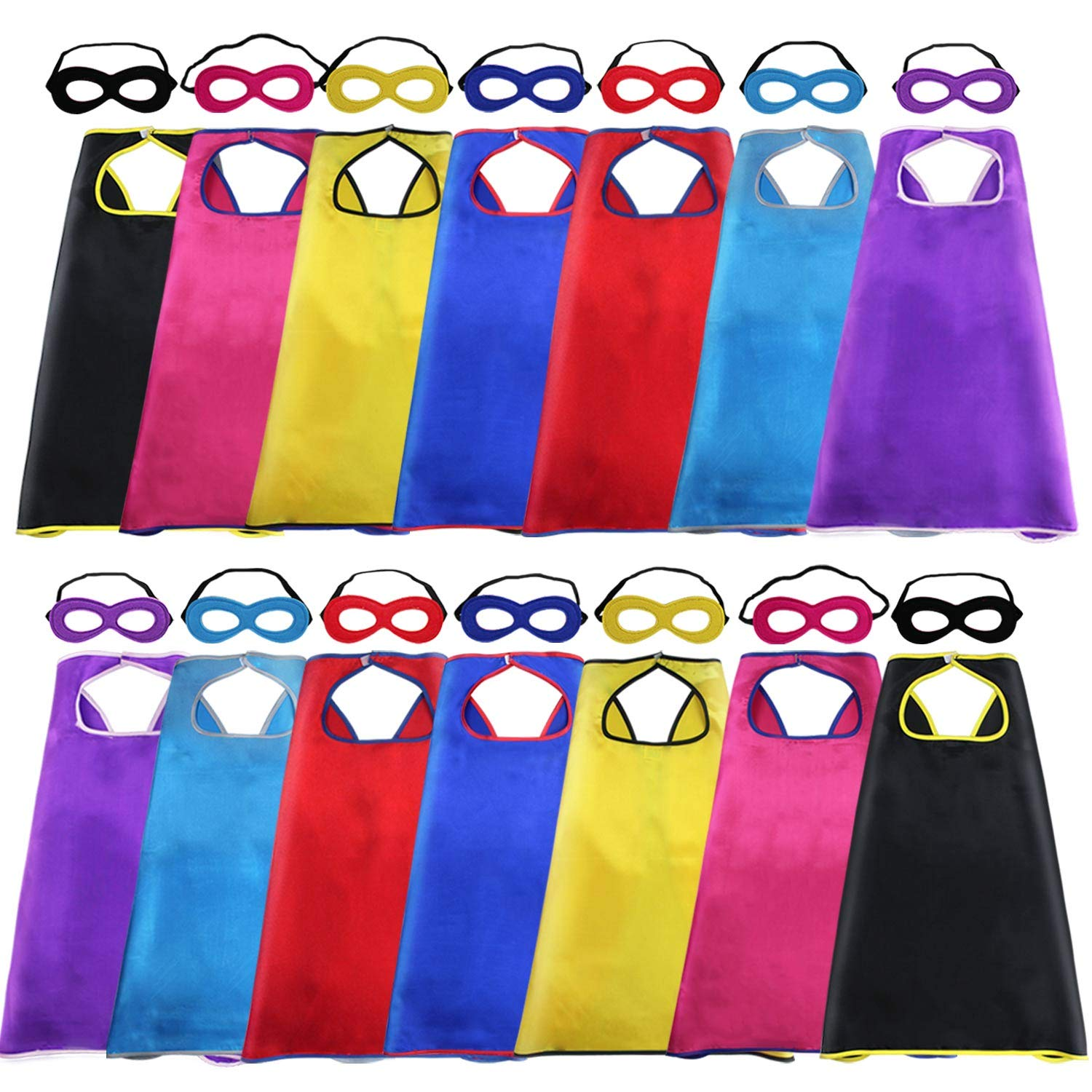 Super Hero Capes and Masks for Kids Bulk-Superhero Birthday Party Favor,14 Pack