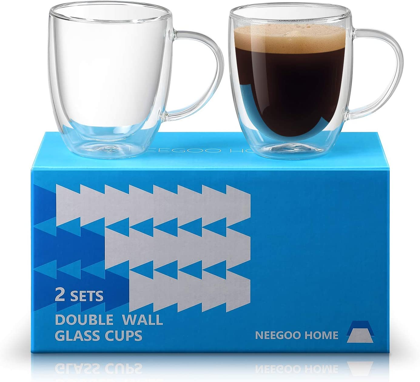 Double Wall Glass Coffee Mug Transparent Tea Cup Hot Chocolate Mugs Large 16 OZ