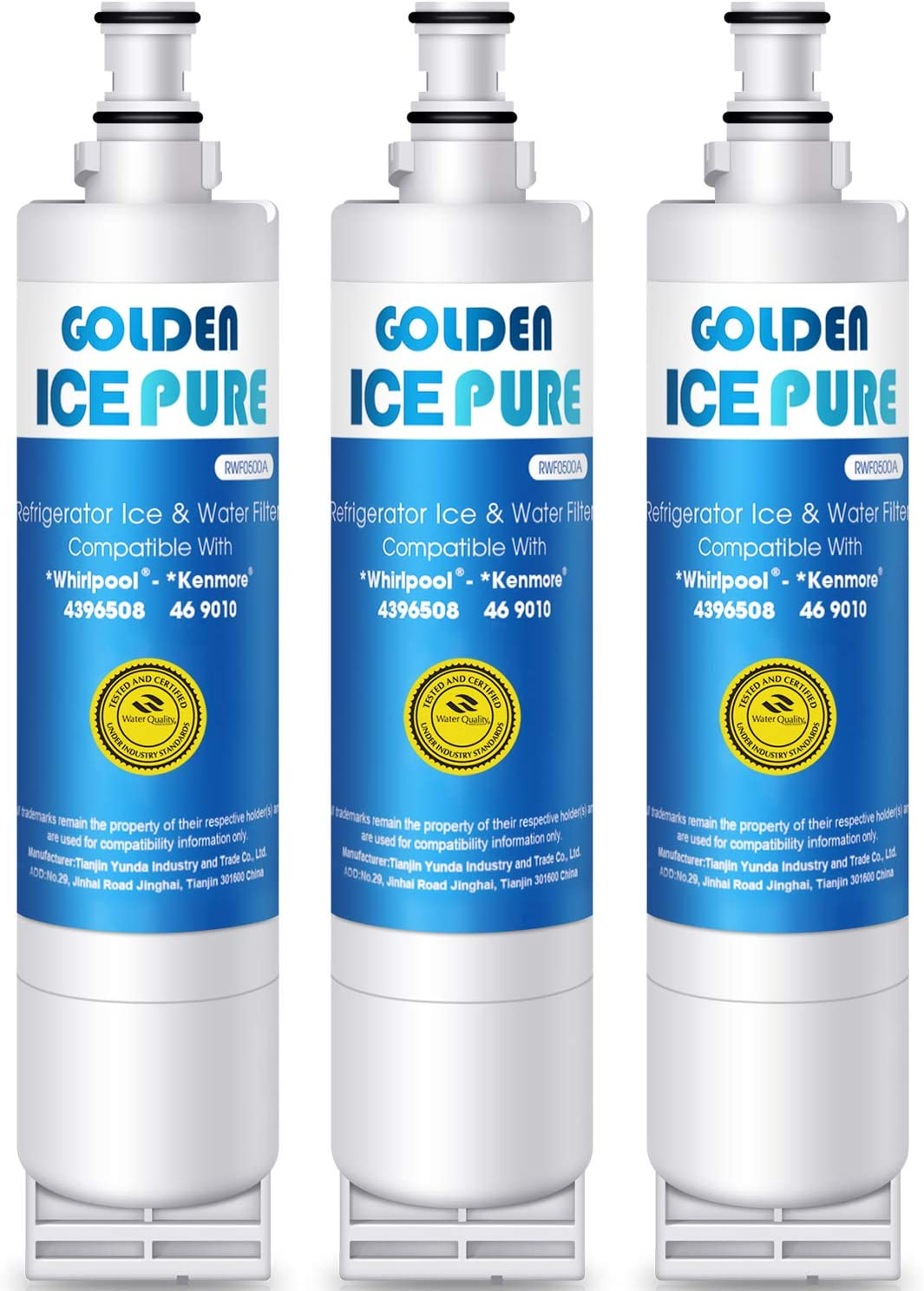 Golden Icepure 4396508 (Not-4396841) Replacement Refrigerator Water Filter,Compatible with Whirlpool 4396508,4396510,Kenmore 46-9010,EDR5RXD1,NLC240V(3-Pack)