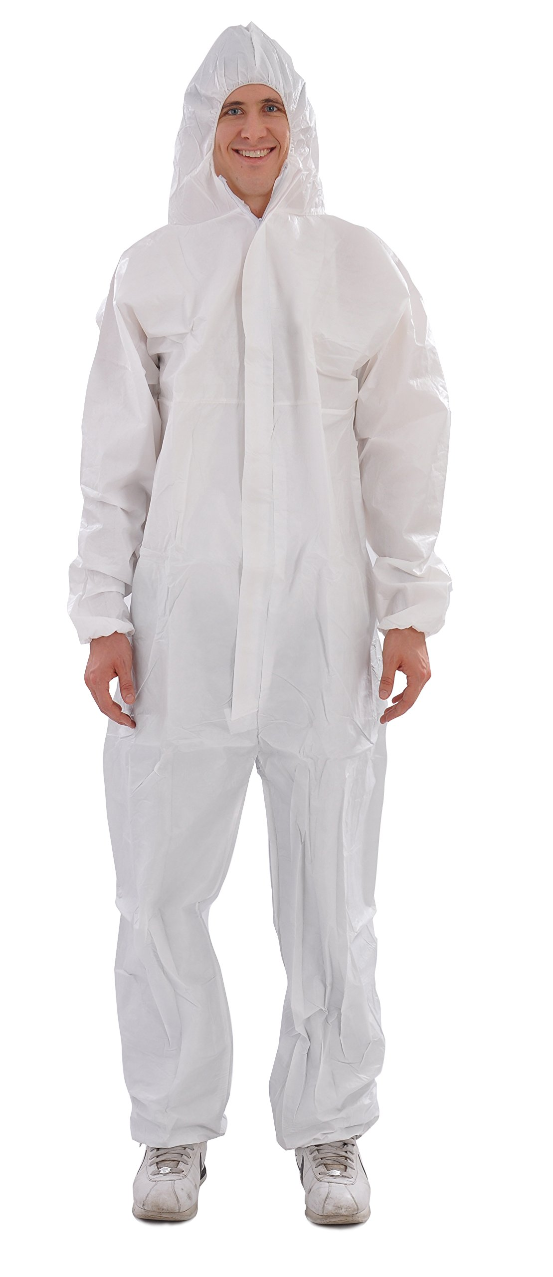 Raygard 30203 Microporous Disposable Coveralls Protective Breathable Hooded Suit with Elastic Cuffs, Ankles and Waist,Zip Front Opening, Serged Seams for Spray Paint Chemical Industrial(Large, White)