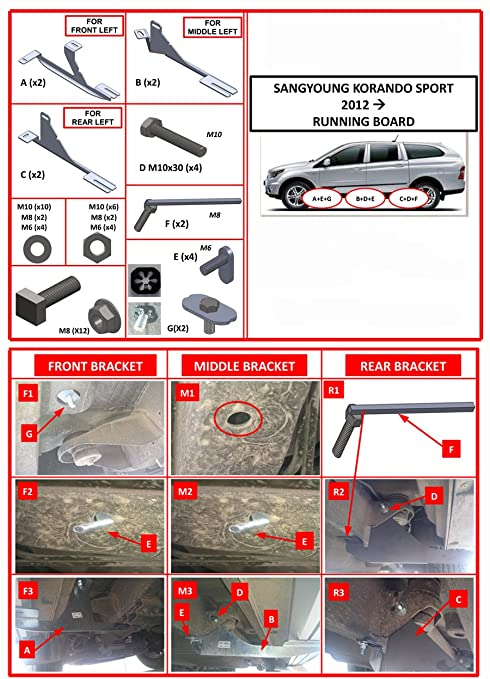 Potenciador tubos aluminio pedalada Tablas para Ssangyong Korando Sport dolunay (203): Amazon.es: Coche y moto