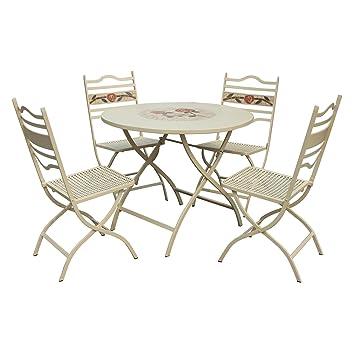 claremont leisuregrow 90 cm set composto da tavolo pieghevole ... - Metallo Patio Tavolo E Sedie Rotondo
