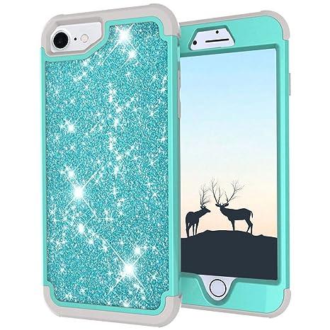 LCHULLE Carcasa iPhone 6 6S 7 8 Brillante Funda Antigolpes 360 Protección Completa Resistente y Tecnología de Cojín de Aire Estuche Ultra Ligera ...