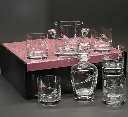 Baúl de 6 Vasos Bajos de Cristal para Whisky o Agua + Cubo de Hielo +