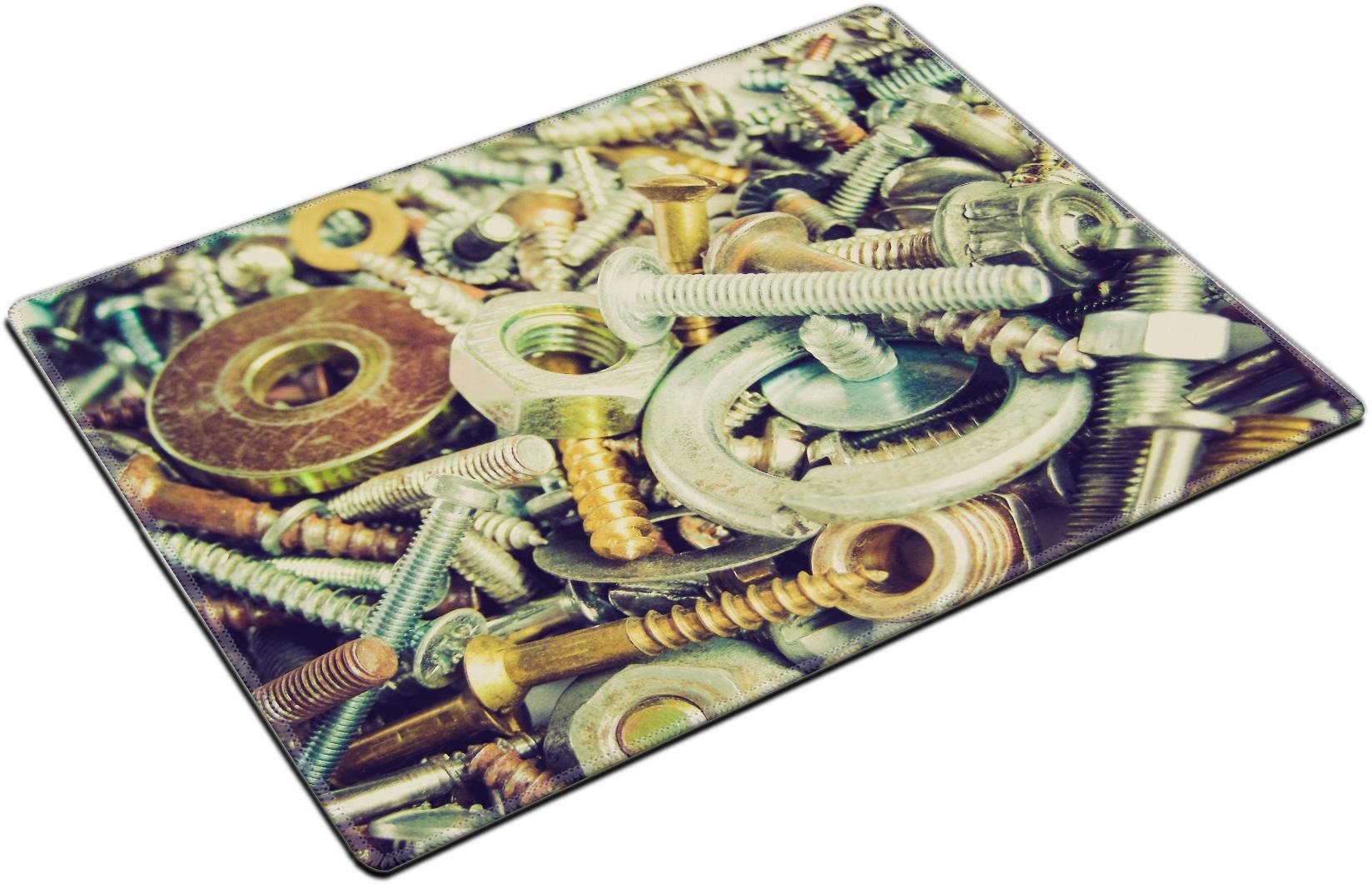 MSD Placemat Non-Slip Natural Rubber Desk Pads Place-mats Design 27271475 Vintage Looking Industrial Steel Hardware Bolts Nuts Screws Useful as Background