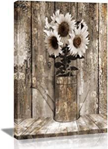 Vantboo Rustic Floral Country Farmhouse Sunflower Canvas Prints Wall Art Paintings Home Decor Artworks Pictures for Living Room Bedroom Bathroom Decoration Ready to Hang 16X20 Inches