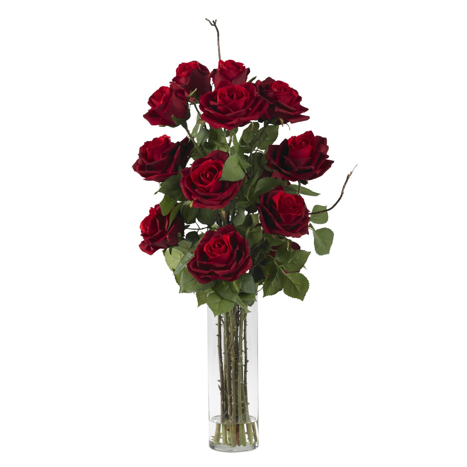 Nearly Natural 1206 Roses with Cylinder Vase Silk Flower Arrangement, Red
