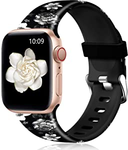 Easuny Floral Band Compatible with Apple Watch SE 40mm 38mm Women - Floral Soft Pattern Printed Cute Fadeless Silicone Replacement Wristband for iWatch Series 6 5 4 3 2 1 Girls,Black-Gray Flower,M/L
