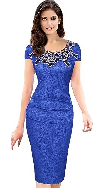 EOZY Vestido Ajustado para Mujer Cóctel Fiesta Elegante Flor Azul S
