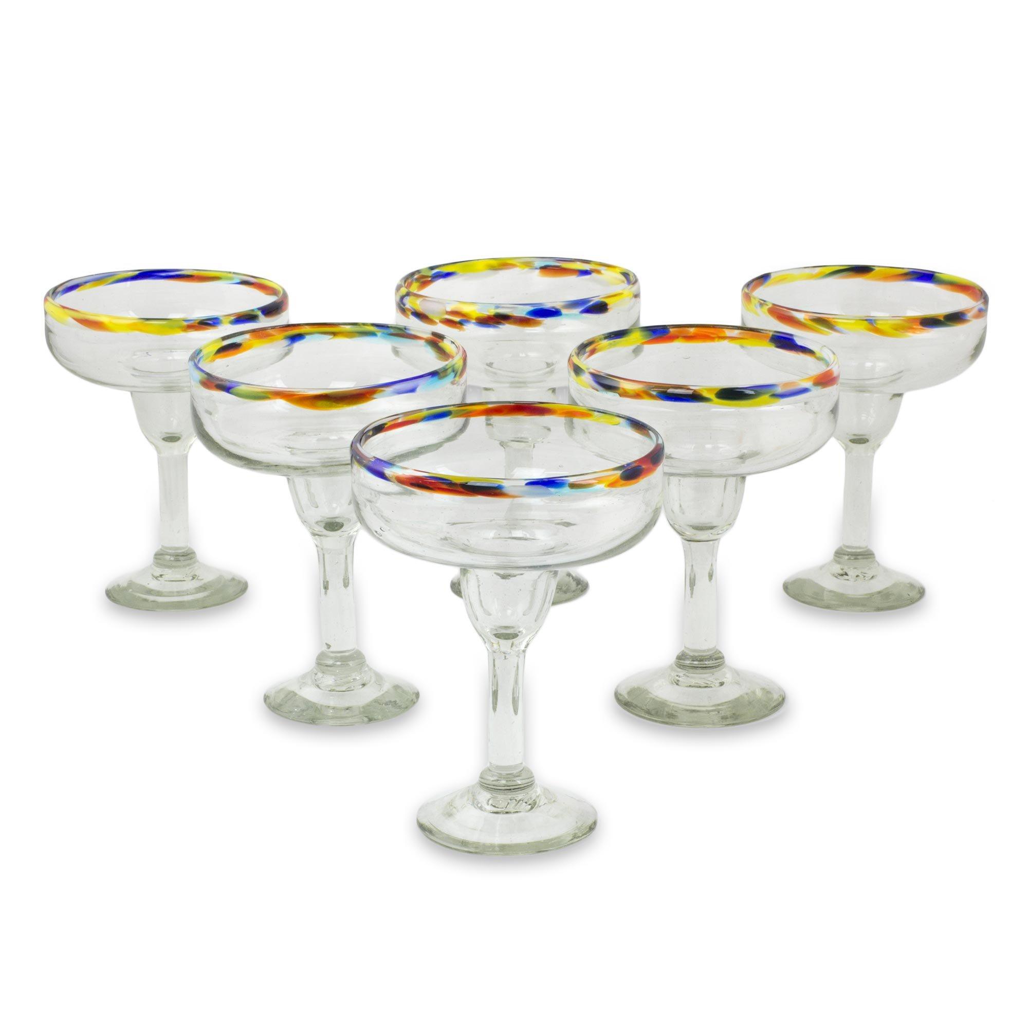 NOVICA 251969 'Confetti Kiss' Margarita Glass, 7'' Tall, Clear Multicolor