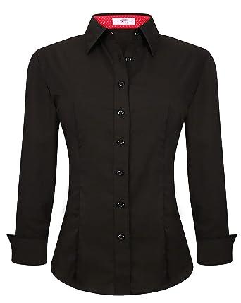 273aae92ac465b C Womens Button Down Shirts Long Sleeve Regular Fit Cotton Stretch Work  Blouse Black