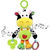 MARUMINE Baby Car Seat Toys with 24 Music and Teether, Infant Soft Plush Rattle, Early Development Hanging Stroller Toys for