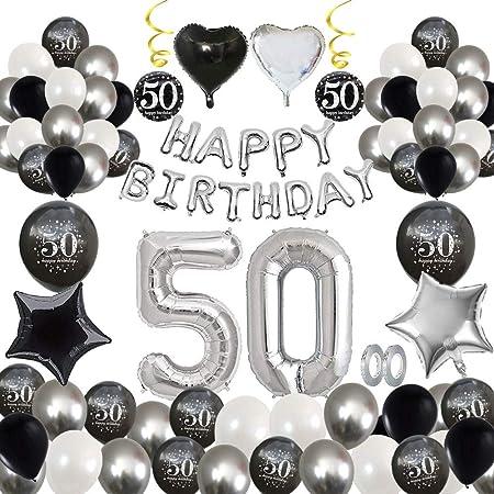 MMTX 50 Decoración fiesta cumpleaños, Feliz cumpleaños Decoracion Globos Negro plateado con Happy Birthday Banner, impresión látex Globos de papel de ...