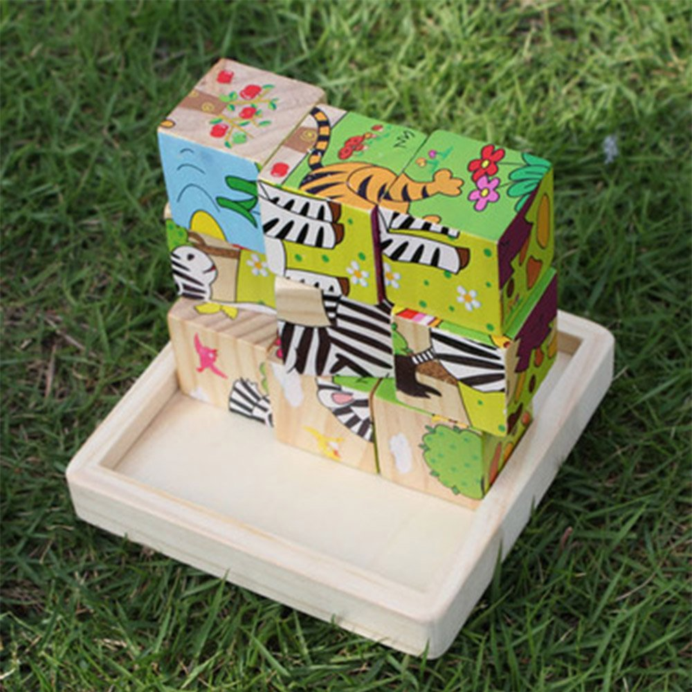 【25%OFF】 ファーム木製キューブパズル(6 in 1 ) 1 カラフルソリッド木製キューブブロックwithストレージトレイEarly開発パズルToy for ) Kids in B07FTL3YBP, 越智郡:04afcd8e --- 4x4.lt
