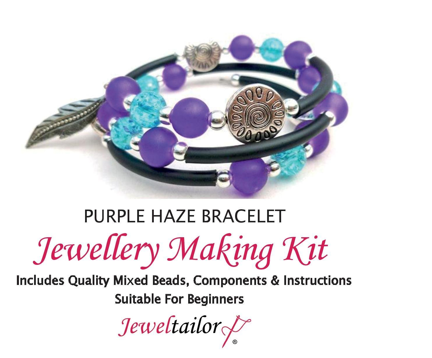 Leaf Charms Bonus Beads Instructions JEWELTAILOR Purple Haze Bracelet Jewellery Making Kit ~Includes Memory Wire For Up To 10 Bracelets FREE Luxury Gift Bag Mixed Glass Beads