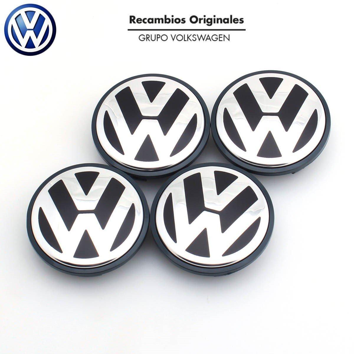 Recambio Original Volkswagen VW Tapacubos Llanta de Aluminio (Golf 5, 6, Jetta, Beetle, Passat B6...) 63 mm..) Juego de 4 piezas .