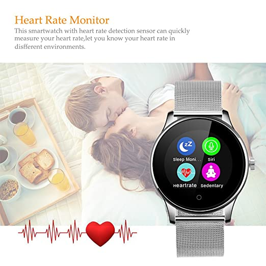 GBlife K88H Bluetooth Smart Watch Fitness Tracker with Heart Rate monitor for iOS and Android (Silver + Stainless Steel Band)