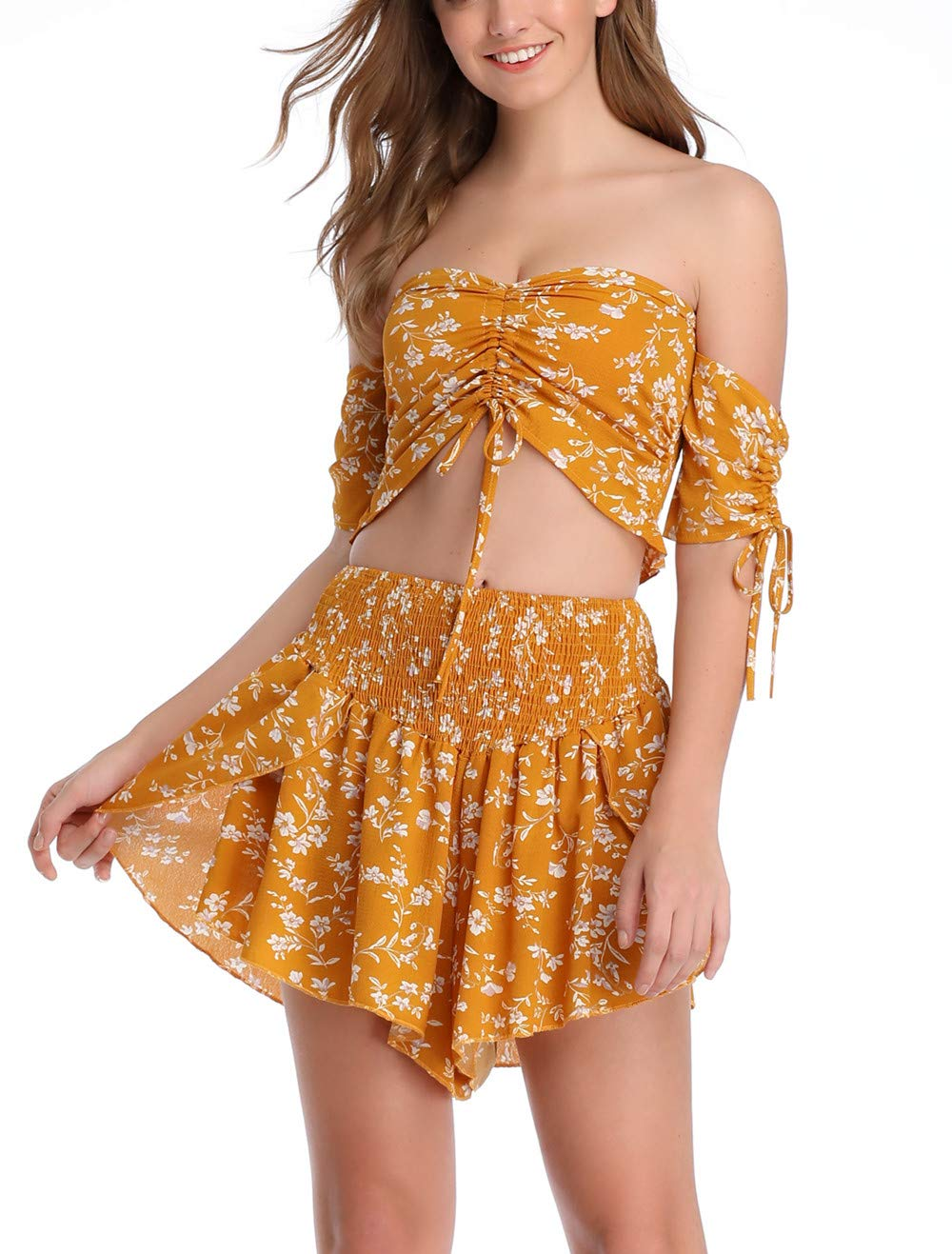 Anienaya Womens Two Piece Outfit Off Shoulder Floral Smocked Drawstring and Crop Top and Shorts Set