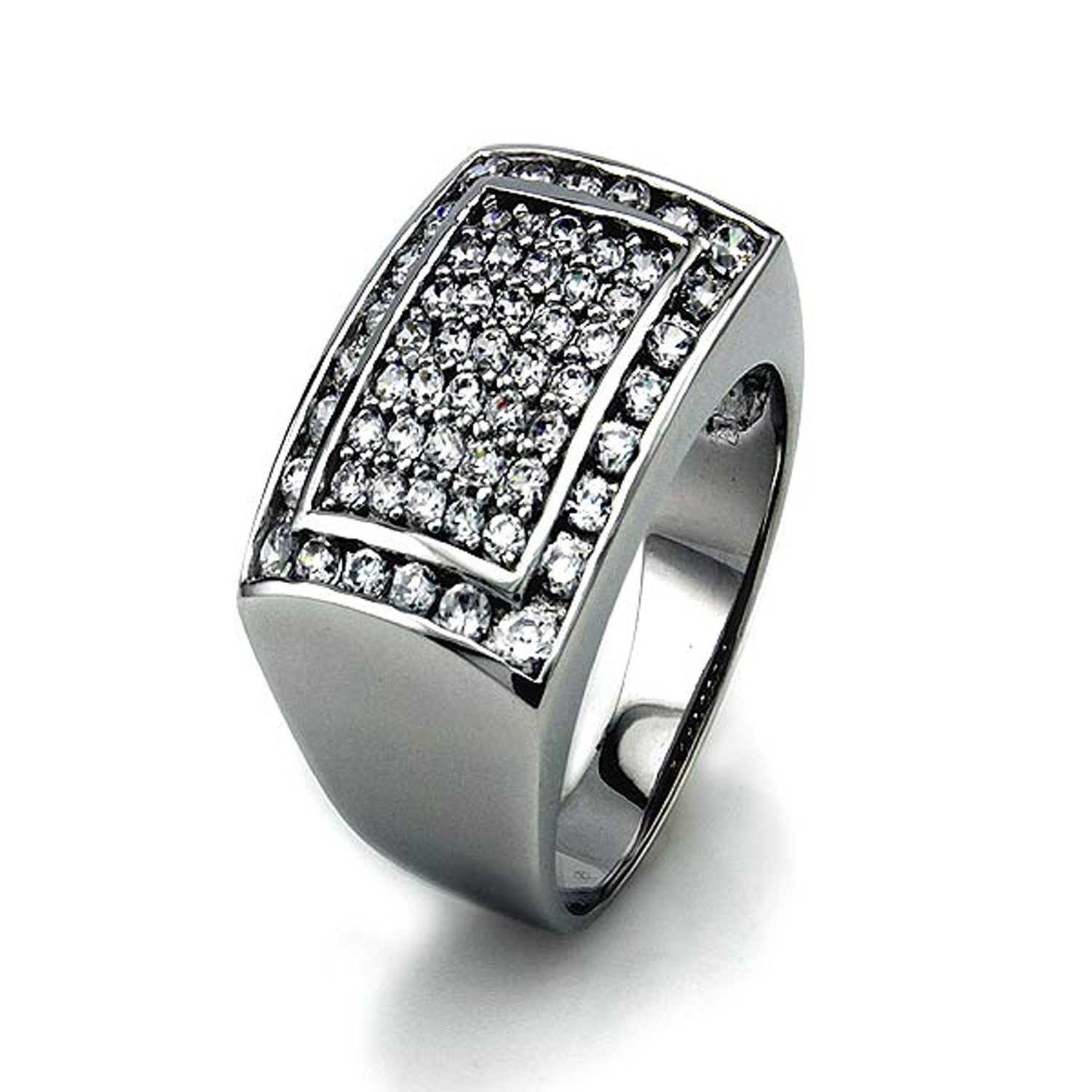 Sterling Silver Pave-set Cubic Zirconia Bulky Men's Ring Tioneer R50002