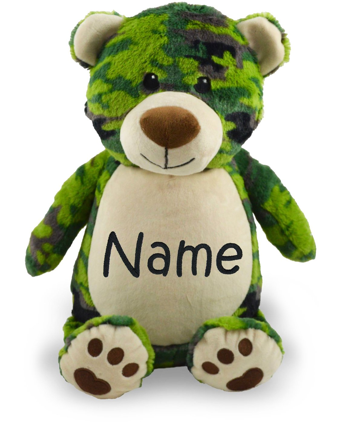 Personalized Stuffed Camo Bear with Embroidered Name by Little Elska