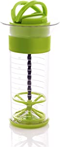 Mastrad Qwik Wisk - Universal Mixer With Non-Slip Silicone Grip - Mix and Measure Marinades, Salad Dressings, Frothy Drinks, And More