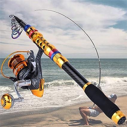 Caña Pesca telescópica portátil Carrete Combos Travel Spinning ...