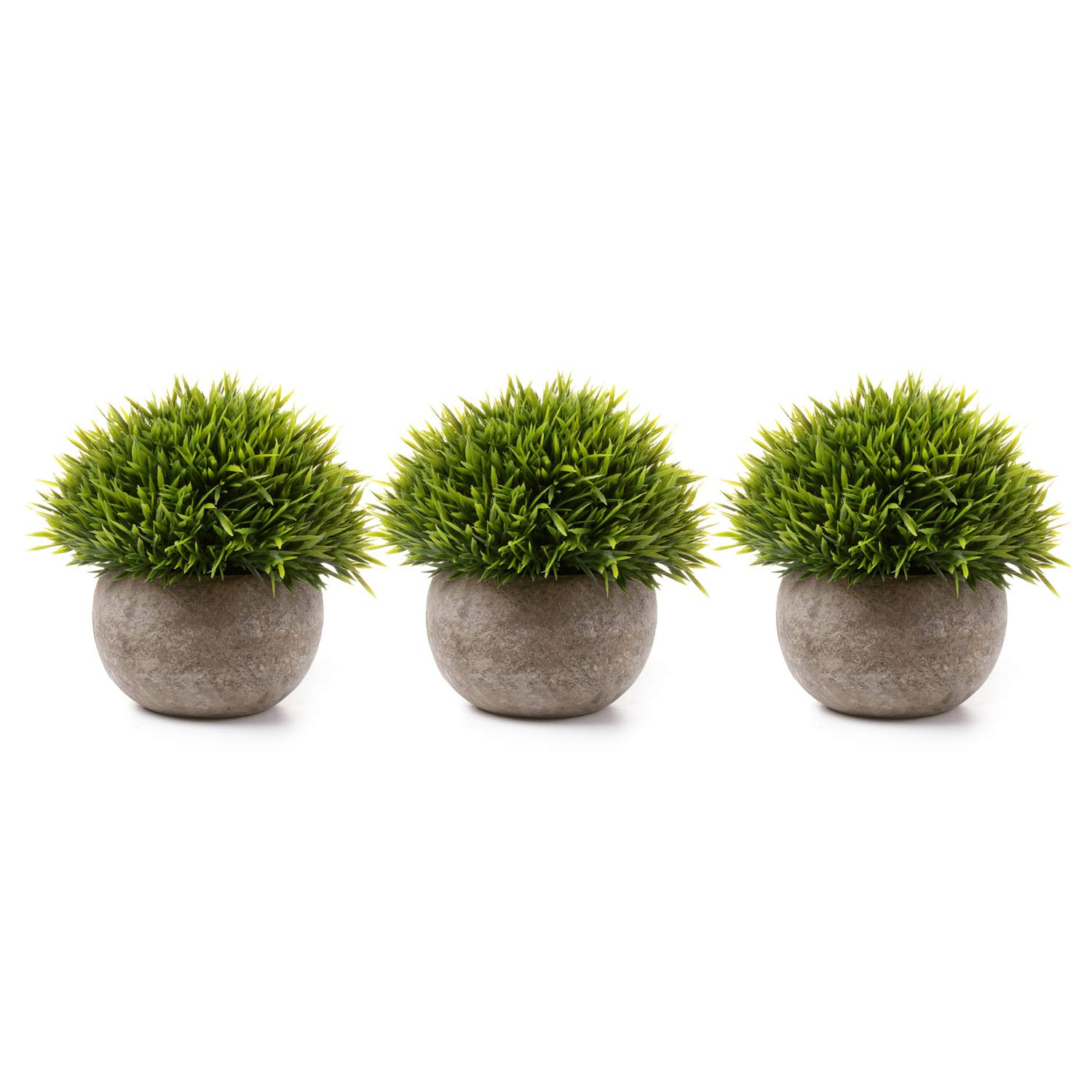 T4U 3PCS Artificial Plastic Potted Plant Fake Green Grass Faux Plant with Pot for Home Office Indoor Décor by T4U