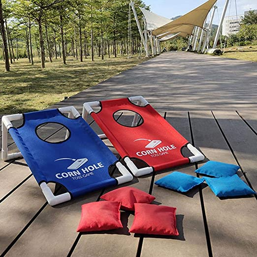 Plegable Cornhole Ligero portátil Corn Hole Set Cornhole Boards--con 8 Bolsas de Frijoles y Bolsa de Transporte--Juego De Bolsa De Frijol Clásico--para Juegos de jardín al Aire Libre para familias: Amazon.es: Juguetes