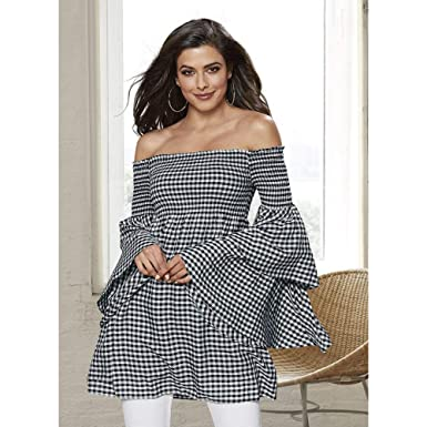 f77b29a0b4e Gingham Ruffle-Sleeve Top 1X Black-White-Gingham at Amazon Women's ...