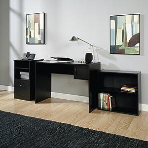 3-Piece Home Office Bundle Bookcase, Desk and Storage Cabinet, Black Finish
