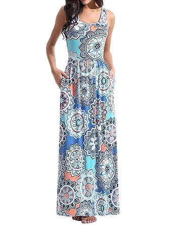 3f1fb812329 Amazon.com  Ezcosplay Women Boho Floral Print O Neck Sleeveless High Waist  Maxi Beach Dress  Clothing