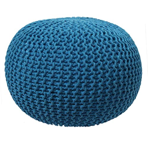 RUGSVILLE Knit Pouf Chair – Hand Braided Cotton Cord Stuffed Poufs Boho Home Decorative Foot Stools and Ottomans, Blue, D-20 x H-14 Inches
