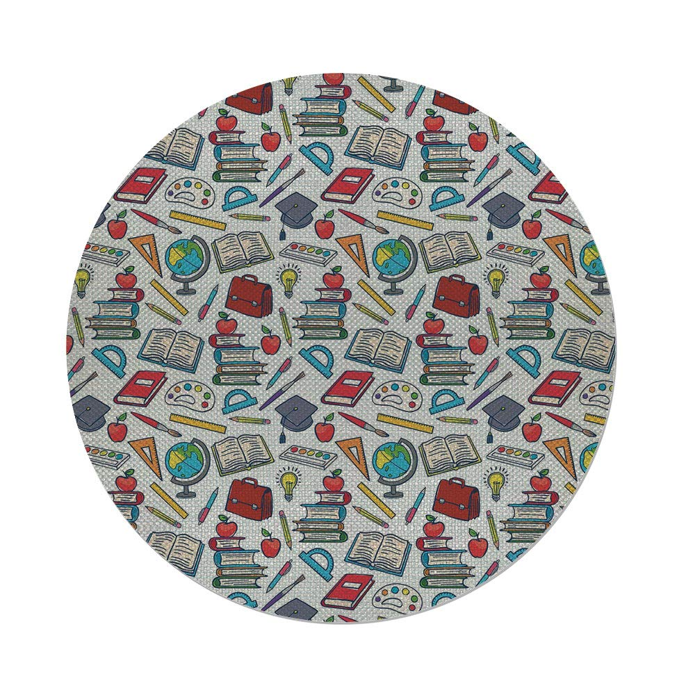 Cotton Linen Round Tablecloth,Kids,Elementary School Theme Student Supplies Globe Paints and Brushes Books Education Decorative,Multicolor,Dining Room Kitchen Table Cloth Cover