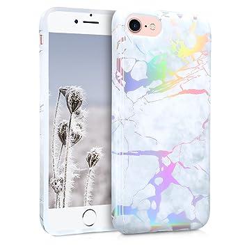 kwmobile Funda para Apple iPhone 7/8 - Carcasa de TPU para móvil y diseño de mármol clásico en Blanco/Plata