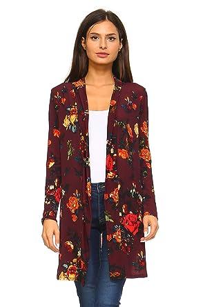 b77e1a2cc8 Frumos Womens Cardigans Long Sleeve Kimono Top Wine Teal 2X-Large at Amazon  Women s Clothing store