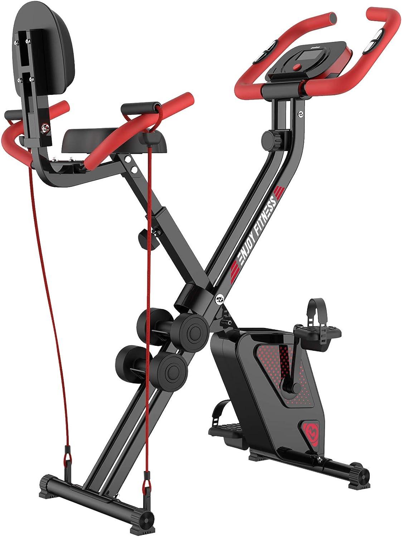 pooboo Folding Exercise Bike Indoor Cycling Bike Magnetic Upright Bike Stationary Bike with Dumbbells,Arm Resistance Bands,Pulse Sensor,LCD Monitor