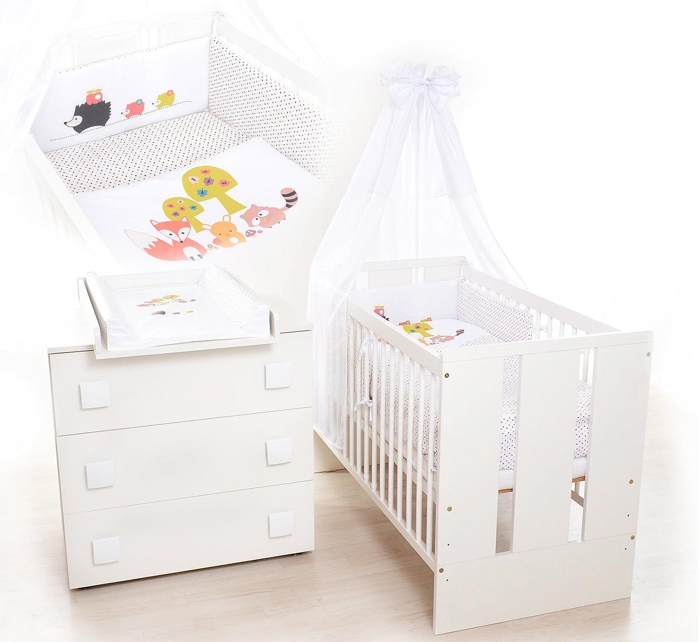 13Tlg. Kinderzimmer Babyzimmer - Wickelkommode, Babybett, voll Ausstattung KLUPS