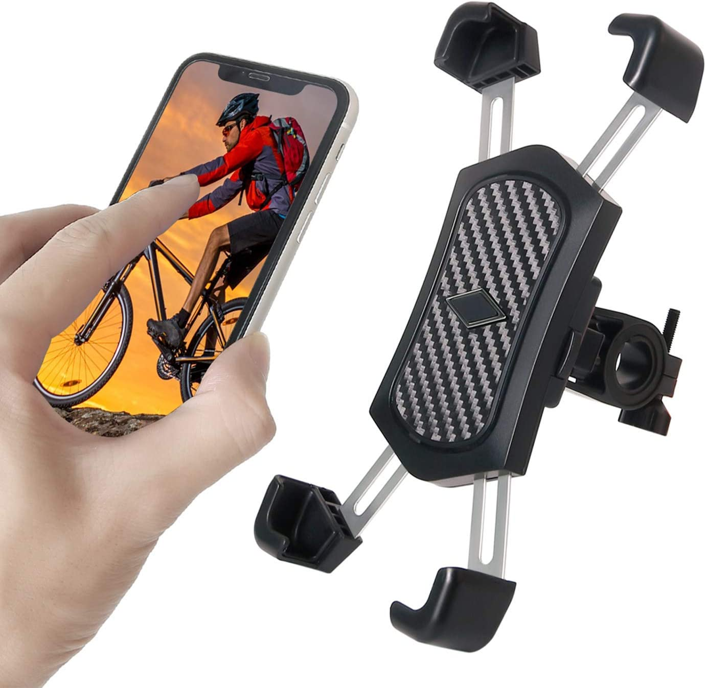 Bike Phone Mount, Anti Shake and Stable 360° Rotation Bicycle Accessories Motorcycle Phone Holder Motorbike Handlebars Adjustable Fits for iPhone Samsung Android GPS Other Devices (Black)