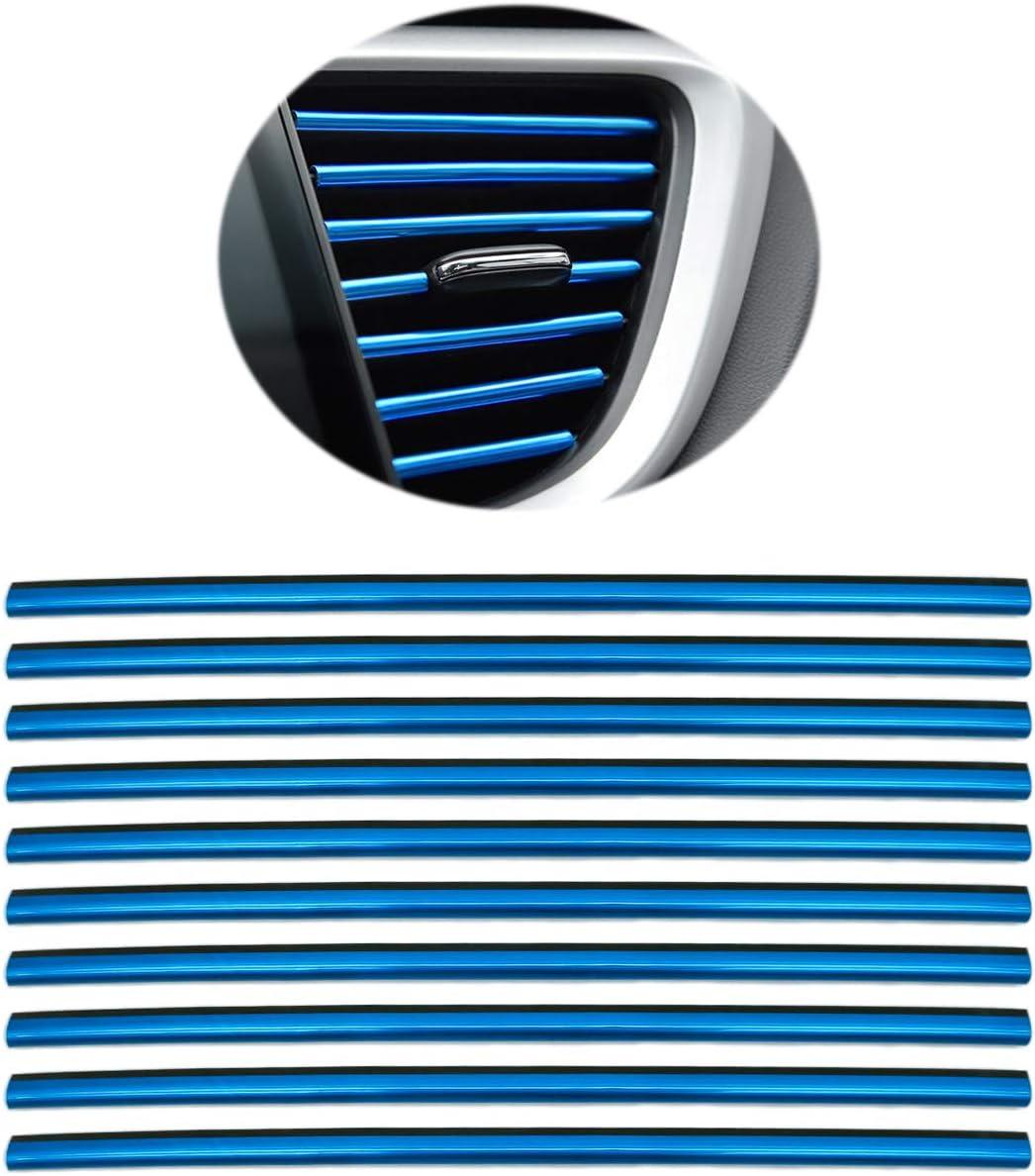 Azul 10 piezas Auto L/üftungsschlitz Auslassleisten Auto Interior Zierleisten Auto L/üftungsgitter Auslass Zierleisten Trim Leiste Innenverkleidung