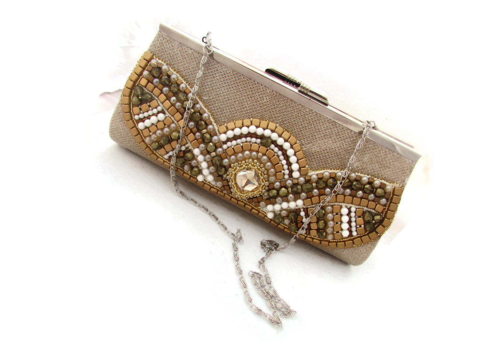 Original gold champagne handmade bead embroidered artisan jewelry purse handbag pouch clutch - Golden glory