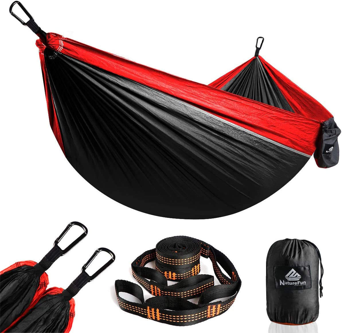 NATUREFUN Hamaca portátil Ultraligera 100% Nailon de paracaídas 300 kg Mochila de Viaje, Camping, Caza, Playa, Patio, Negro/Rojo