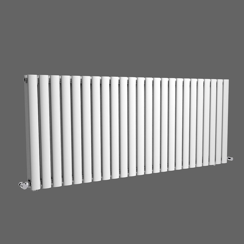 iBathUK 600 x 420 mm Modern Horizontal Column Radiator White Oval Single Panel
