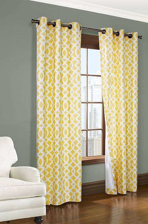 Trellis Thermalogic Yellow 80u0026quot; X 95u0026quot; Grommet Top Curtains